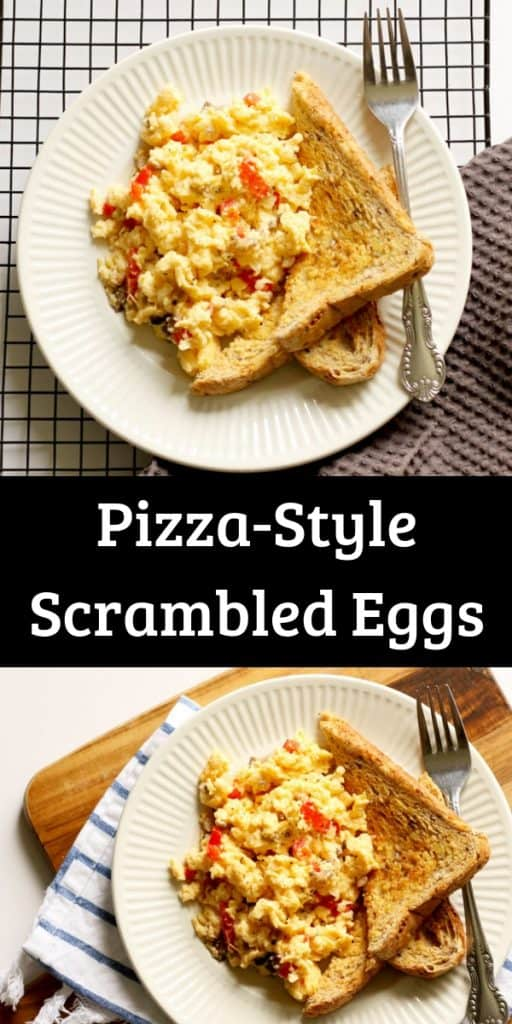 a collage of two photos of pizza style scrambled eggs with their name in the middle