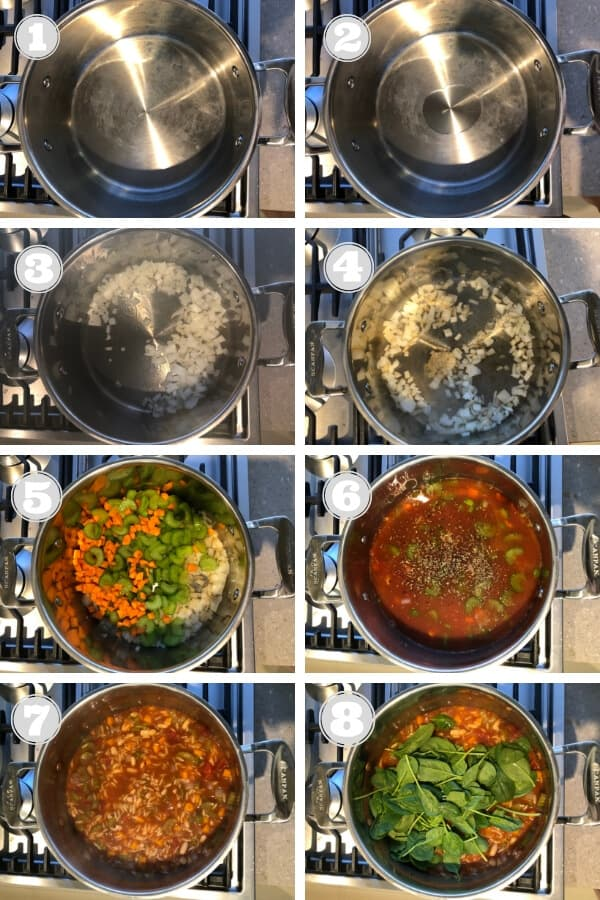 step by step photos on how to make italian vegetable orzo soup