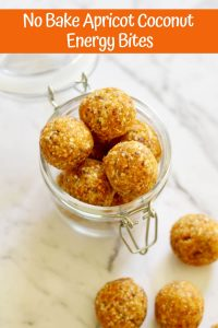 No Bake Apricot Coconut Energy Bites in a glass jar