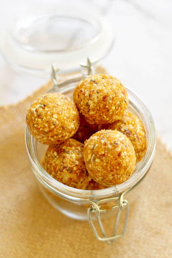 No Bake Apricot Coconut Bites in a glass jar