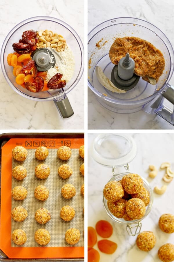 Step by Step photos on how to make No Bake Apricot Coconut Bites