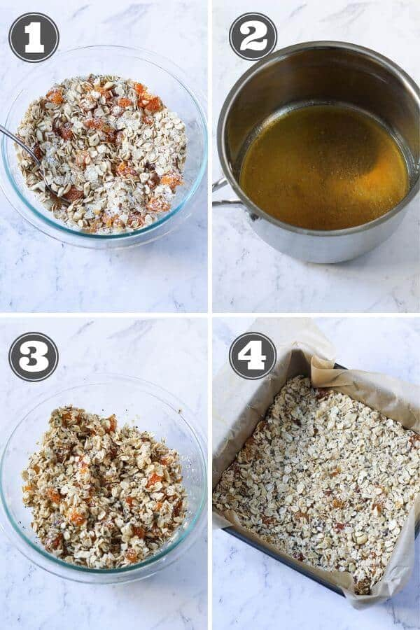 step by step photo instructions on how to make chewy apricot muesli bars