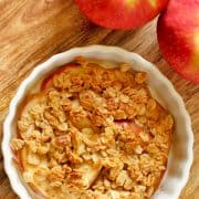 close up of individual apple crisp