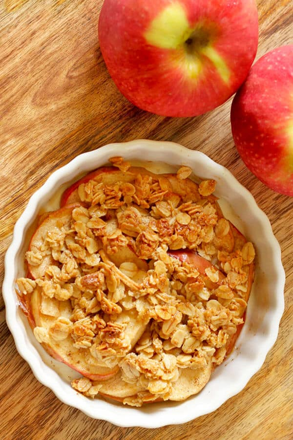 close up of individual apple crisp