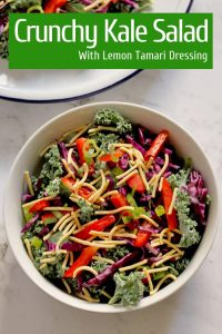 crunchy kale salad with lemon tamari dressing pinterest image