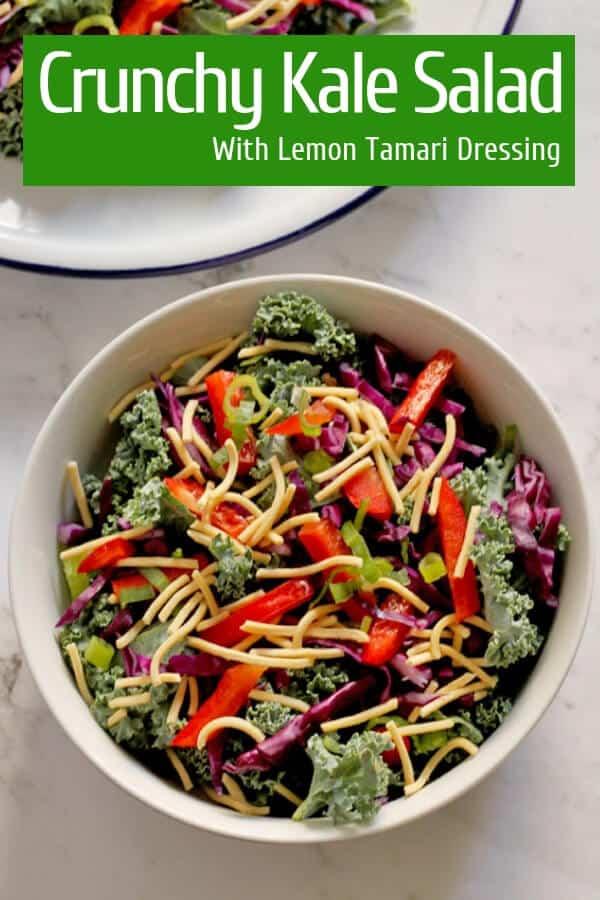 crunchy kale salad with lemon tamari dressing pinterest image