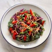 crunchy kale salad with lemon tamari dressing on a white plate