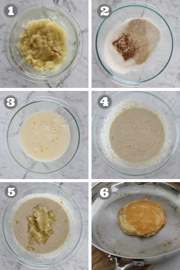 step by step photos on how to make healthy banana pancakes