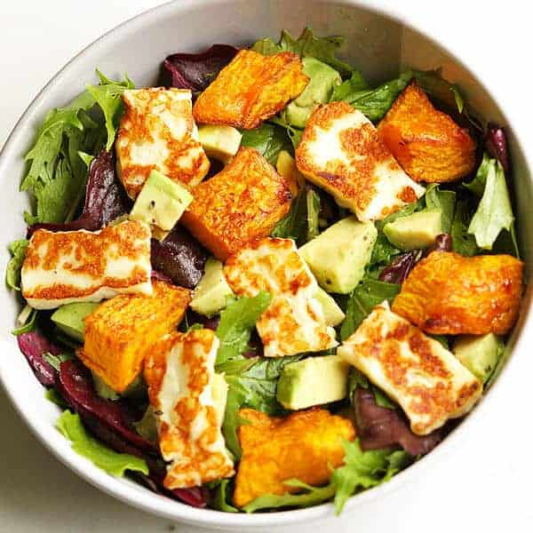 pumpkin, haloumi and avocado salad