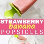 3 strawberry banana popsicles on a plate covered in ice cubes.