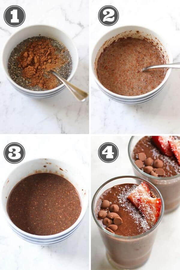 step by step photo instructions on how to make chocolate chia puddings
