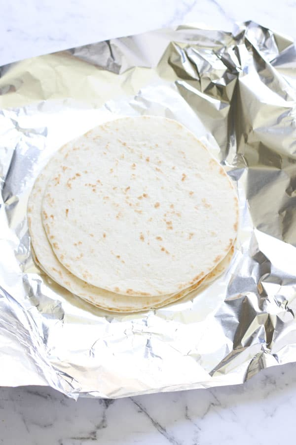 mini flour tortillas on top of alfoil