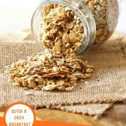 """healthy homemade granola in a glass jar on its side with granola spilling out with text overlay that reads """"healthy homemade granola - quick & easy breakfast"""""""