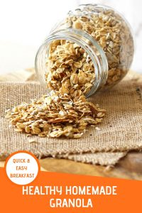 "healthy homemade granola in a glass jar on its side with granola spilling out with text overlay that reads ""healthy homemade granola - quick & easy breakfast"""