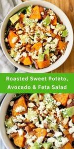 roasted sweet potato, avocado and feta salad pinterest image