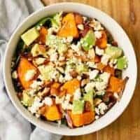 Roasted Sweet Potato, Avocado and Feta Salad