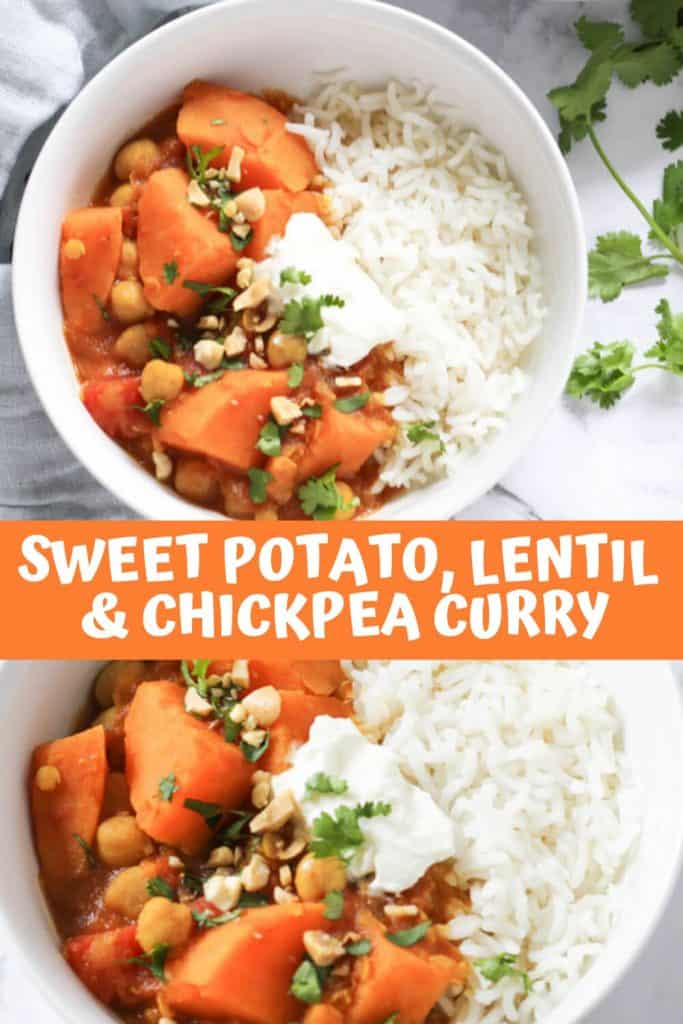"a collage of sweet potato, lentil and chickpea curry photos with text overlay that reads ""sweet potato, lentil & chickpea curry"""