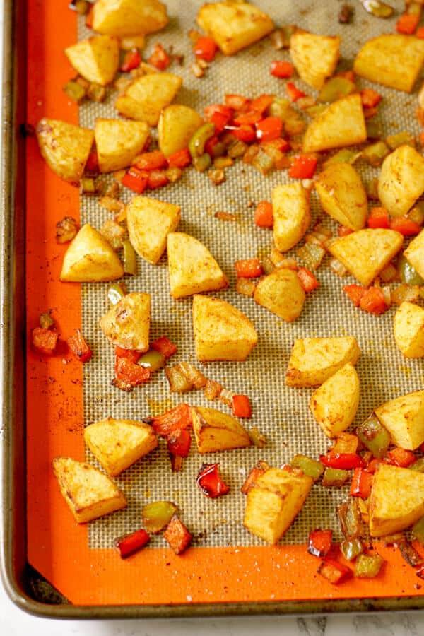 crispy breakfast potatoes on a baking tray