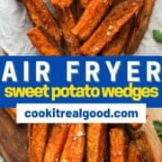 "sweet potato wedges covered in salt on white baking paper with text overlay ""air fryer sweet potato wedges""."