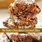 "collage of no bake chocolate coconut slice photos with text overlay that reads ""no bake chocolate coconut slice"""