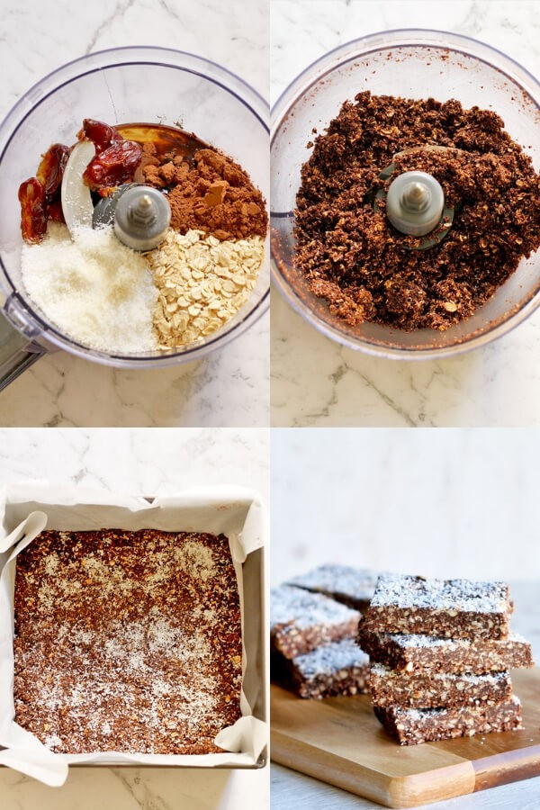 step by step photos on how to make no bake chocolate coconut slice