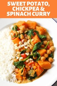 "a bowl of sweet potato, chikpea and spinach curry and rice with text overlay that reads ""sweet potato, chickpea & spinach curry"""