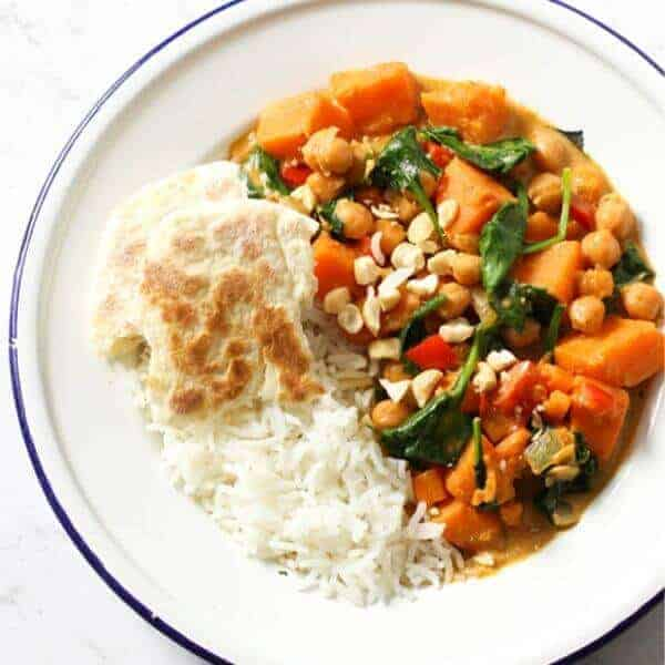 sweet potato, chickpea and spinach curry