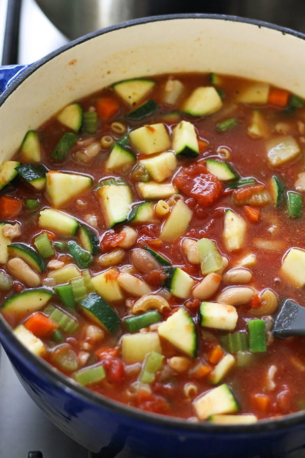 Italian Minestrone Soup in a large dutch oven.