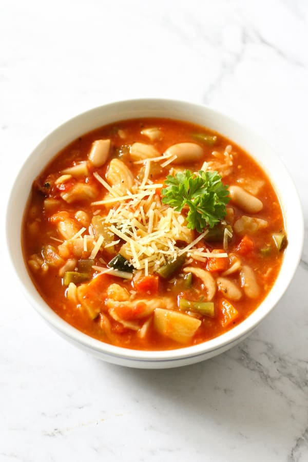 Italian Minestrone Soup in a white bowl.