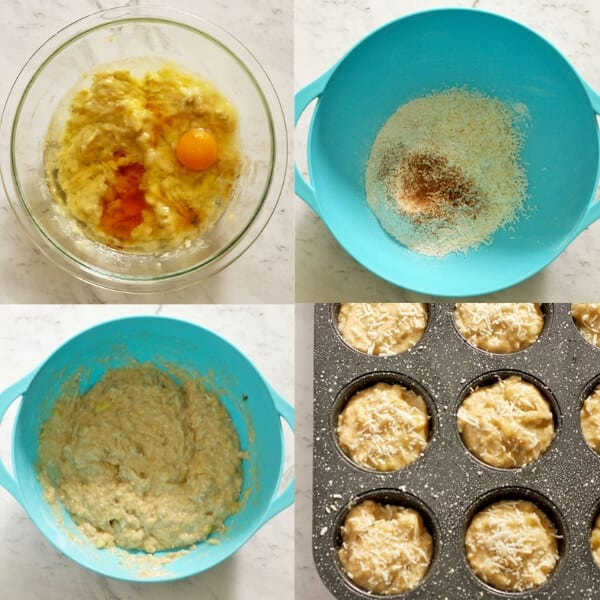 step by step instructions on how to make banana coconut muffins