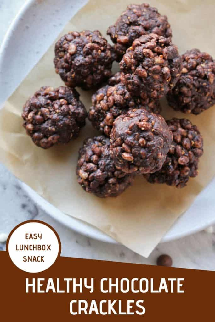 "healthy chocolate crackles piled on a white plate with text overlay that reads ""healthy chocolate crackles - easy lunchbox snack"""