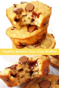 "collage of healthy banana chocolate chip muffins photos with text overlay that reads ""healthy banana choc chip muffins"""
