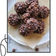 "choc truffles piled on a plate with text overlay ""healthy chocolate crackles""."