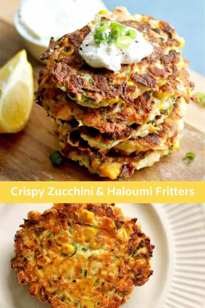 collage of images of zucchini and haloumi fritters for pinterest image
