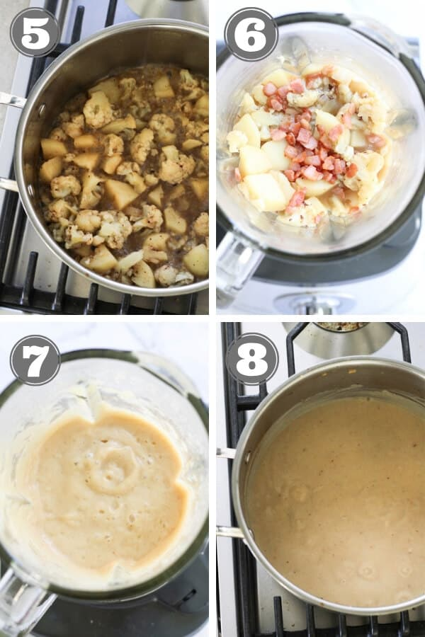 step by step images on how to make cauliflower and bacon soup