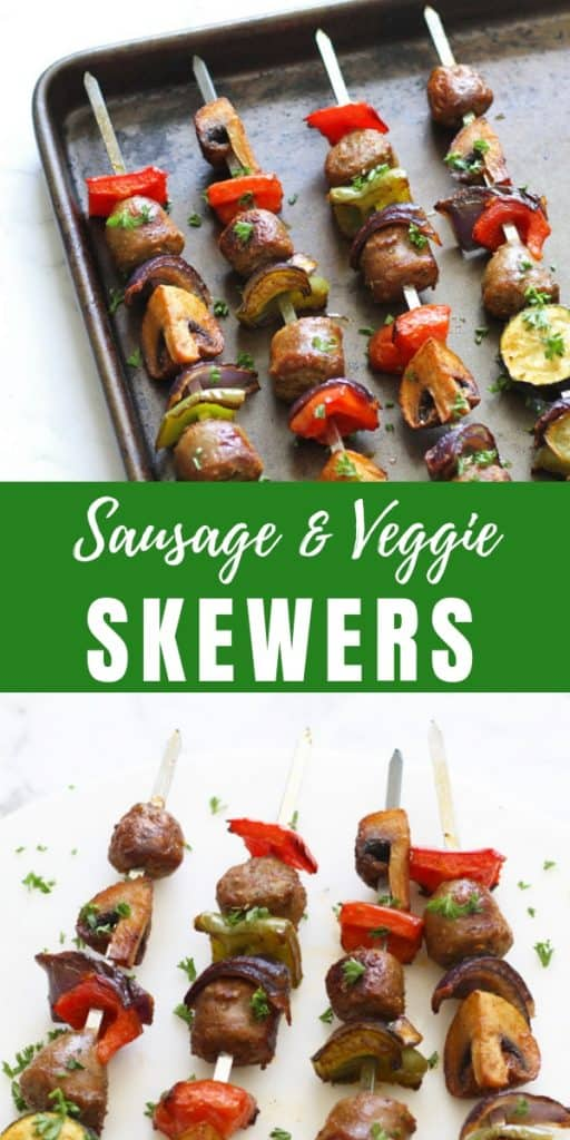 sausage and veggie skewers