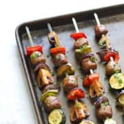 grilled sausage and veggie skewers