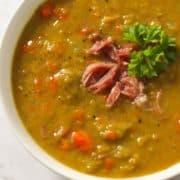 Split Pea Soup in a white bowl.