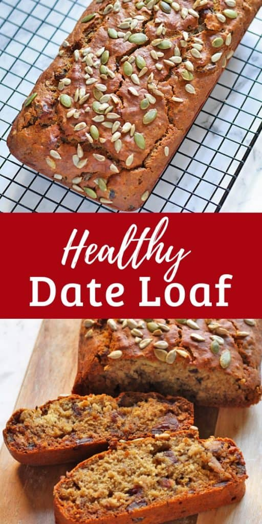 two pictures of date loaf with the words healthy date loaf written in between