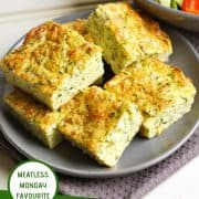 "a plate of healthy zucchini slices with text overlay that reads ""healthy zucchini slice - meatless monday favourite"""