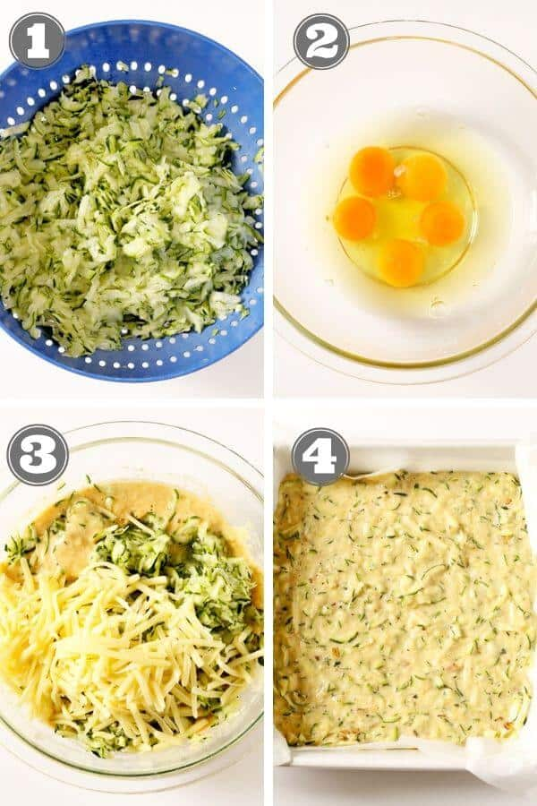step by step photos on how to make healthy zucchini slice.
