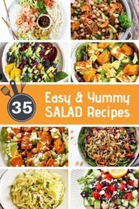 "multiple salad images with text overlay ""easy & yummy salad recipes""."