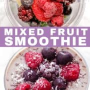 mixed fruit smoothie in a glass.