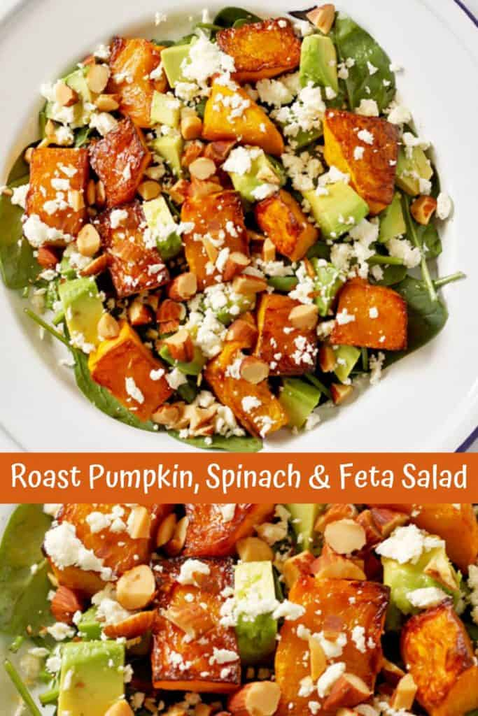 "collage of two roast pumpkin, spinach and feta salad images with text overlay that reads ""roast pumpkin, spinach & feta salad"""