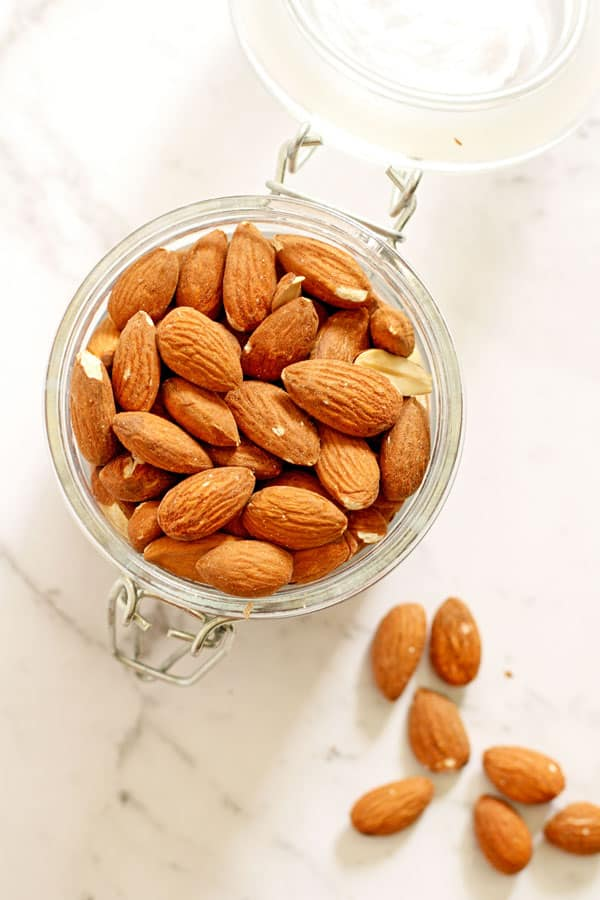 almonds in a glass jar