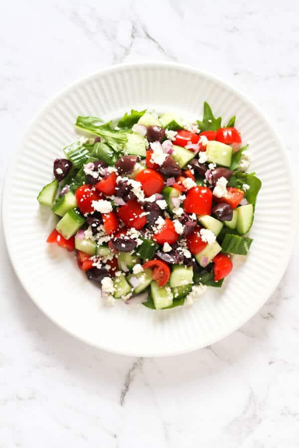 greek salad on a white plate