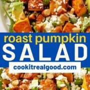 "salad on a white plate with text overlay ""roast pumpkin salad""."