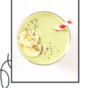 "green smoothie topped with banana slices and chia seeds with text overlay ""spinach mango smoothie""."