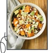 "salad in a bowl with text overlay ""sweet potato salad""."