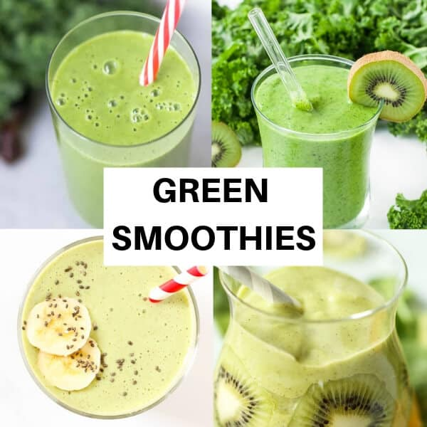 collage of green smoothie pictures